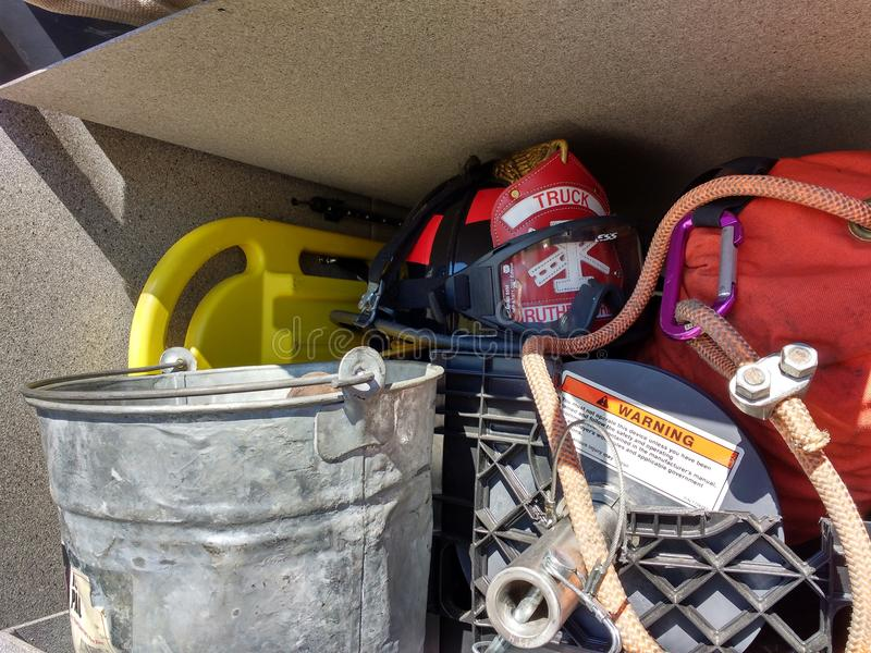 Firefighter Helmet and Gear, Rutherford, NJ, USA royalty free stock image