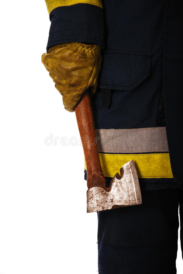 Download Firefighter holding axe stock image. Image of safety - 12660871