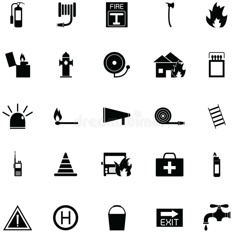 Firefighter icon set vector illustration
