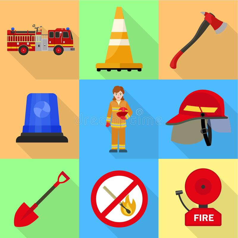 Firefighter icon set, flat style. Firefighter icon set. Flat set of 9 firefighter vector icons for web design isolated on white background vector illustration