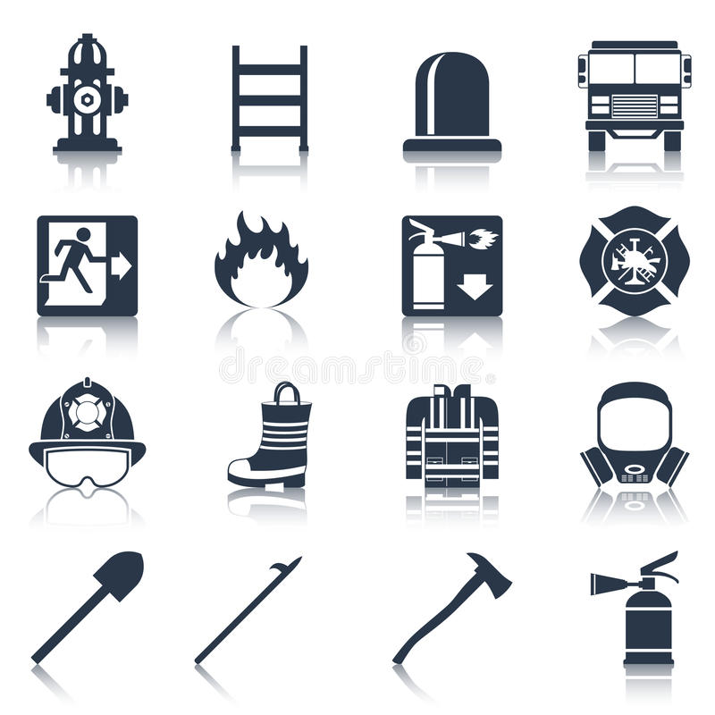Firefighter Icons Black vector illustration