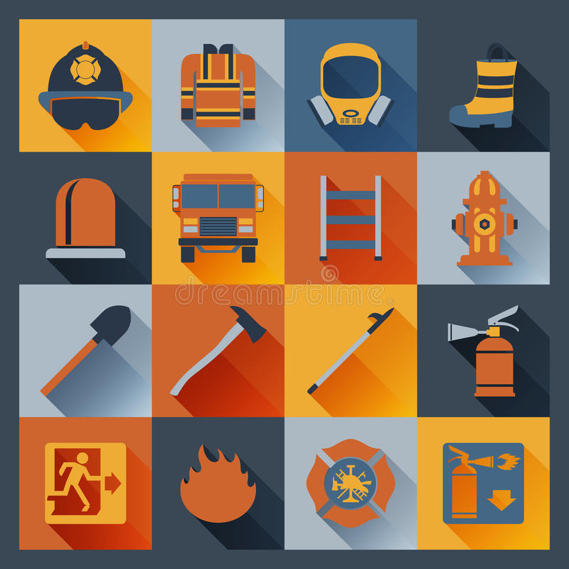 Firefighter icons flat royalty free illustration