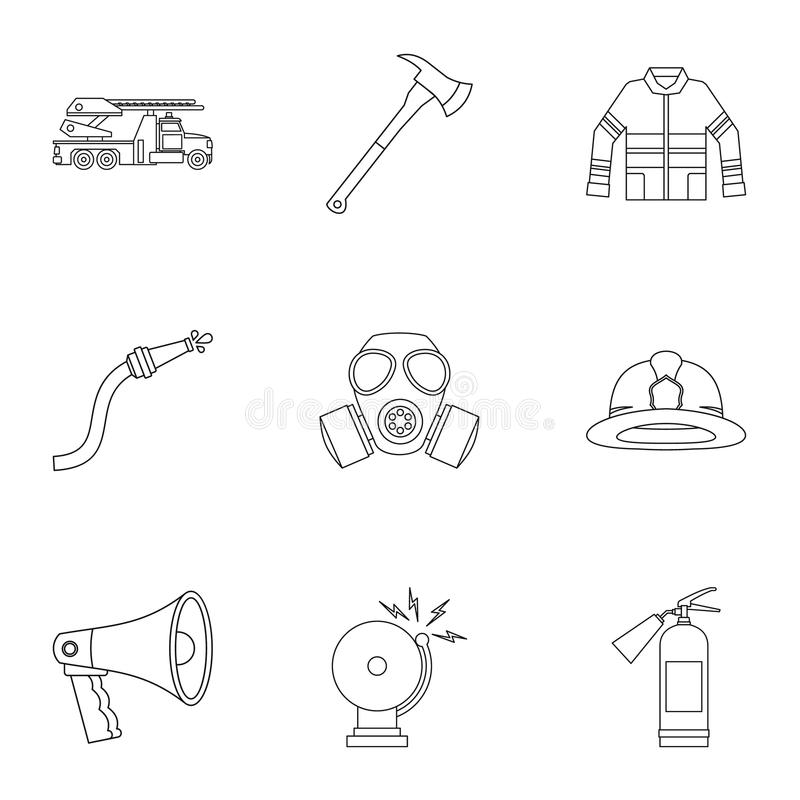 Firefighter icons set, outline style vector illustration