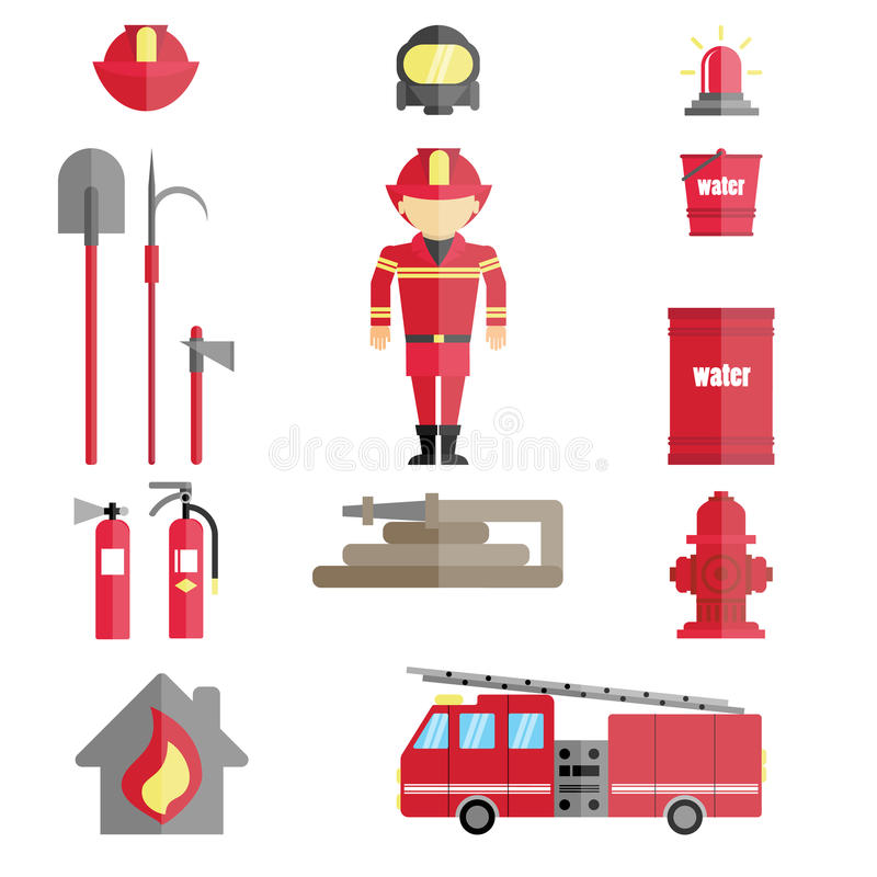 Firefighter infographic set. Emergency items on white background. Truck, flame, extinguisher, bucket and more stock illustration
