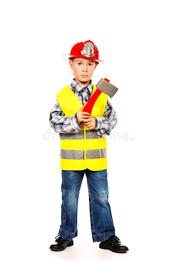 Firefighter kid royalty free stock photos