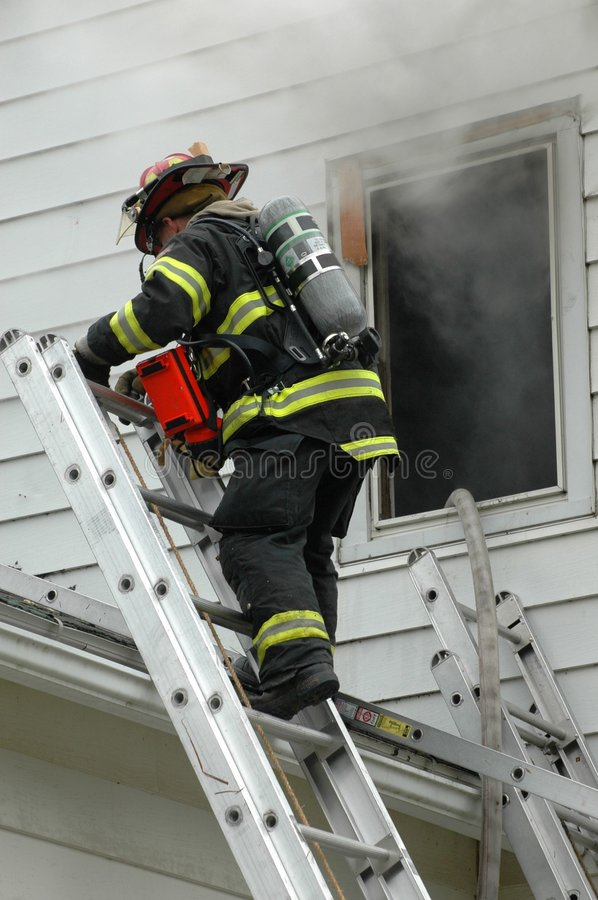 Download Firefighter on Ladder stock photo. Image of gear, mask - 7903350