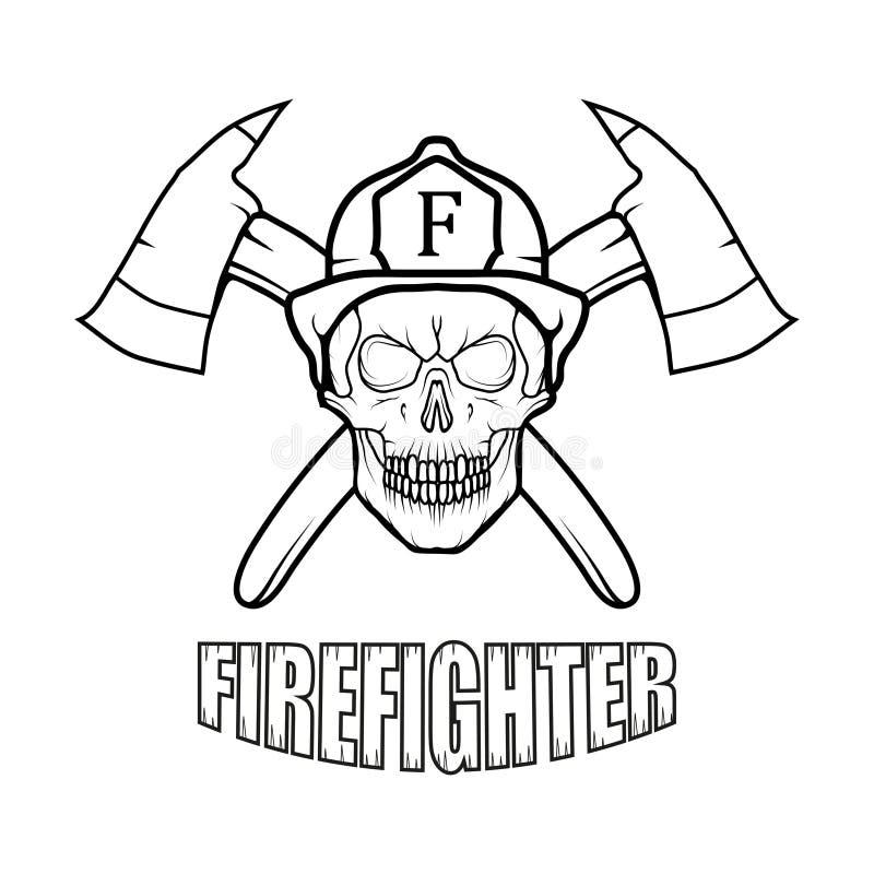 Firefighter logo. Fire Department. Skull with firefighter helmet royalty free illustration