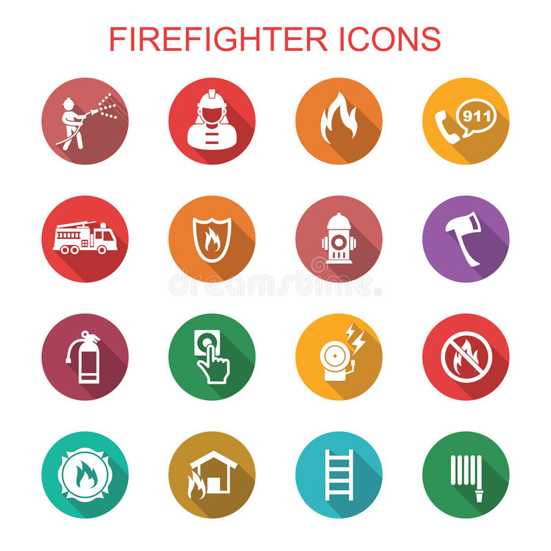 Firefighter long shadow icons. Flat vector symbols royalty free illustration