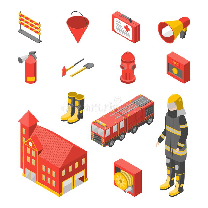 Firefighter Man and Equipment Icons Set Isometric View. Vector stock illustration