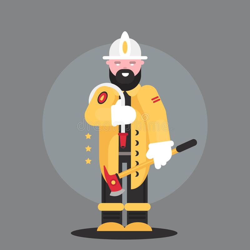 Firefighter, man from fire brigade, standing full face in form of fireman, with personal protective equipment, bunker or. Turnout gear vector illustration