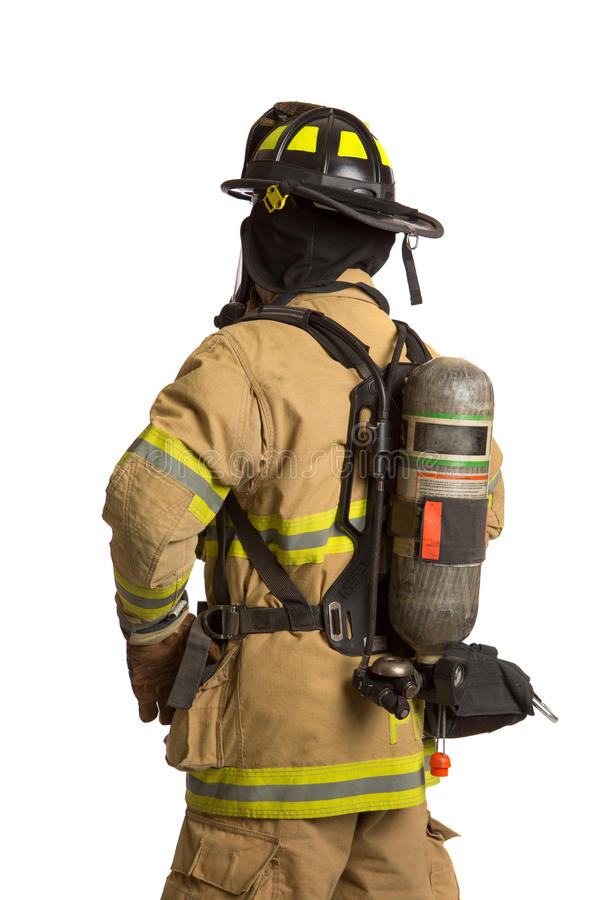 Firefighter With Mask And Airpack Protective Suit Stock Images