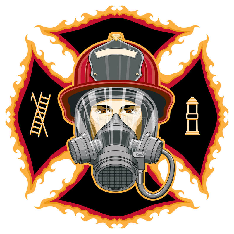 Firefighter With Mask On Cross Royalty Free Stock