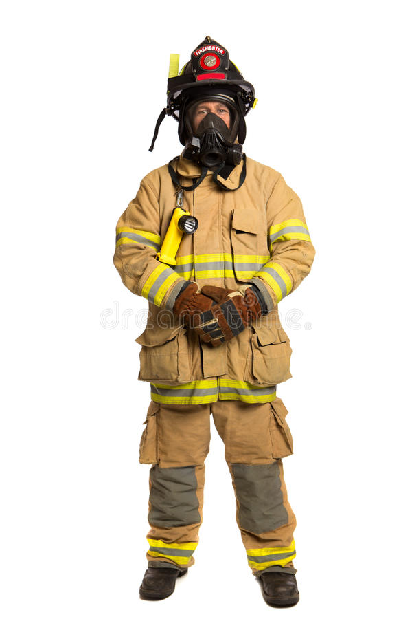 Firefighter With Mask And Fully Protective Suit Royalty Free Stock Images
