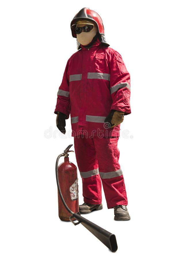 Firefighter with mask and fully protective suit on isolated white background. Firefighter with mask and fully protective suit on fire background royalty free stock images