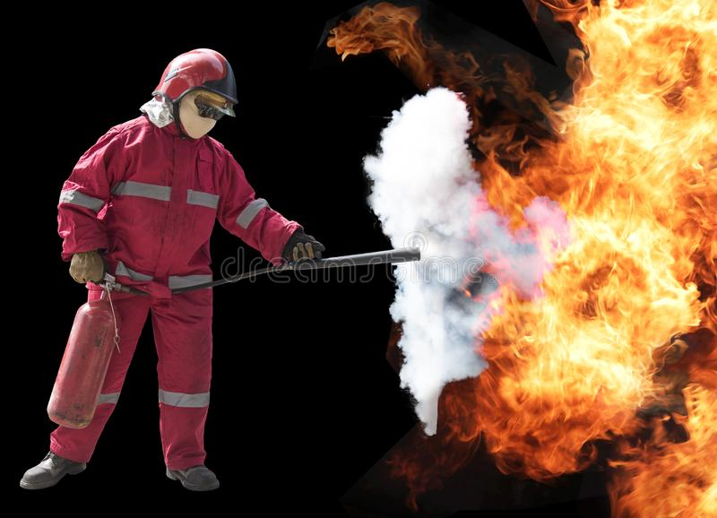 Firefighter with mask and fully protective suit on fire backgrou. Nd royalty free stock image