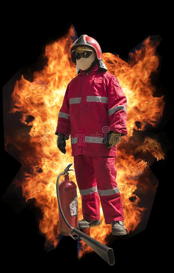 Firefighter with mask and fully protective suit on fire background royalty free stock photo