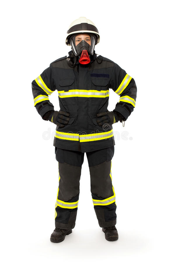 Firefighter with mask and protective suit. Isolated on white background royalty free stock images