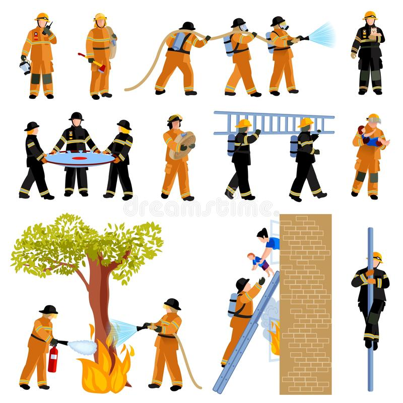 Firefighter People Flat Color Icons Set royalty free illustration