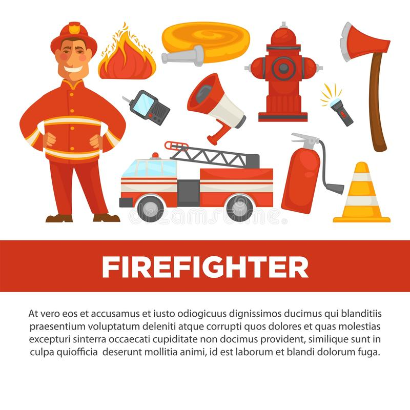 firefighter profession and fire secure protection vector psoter flat