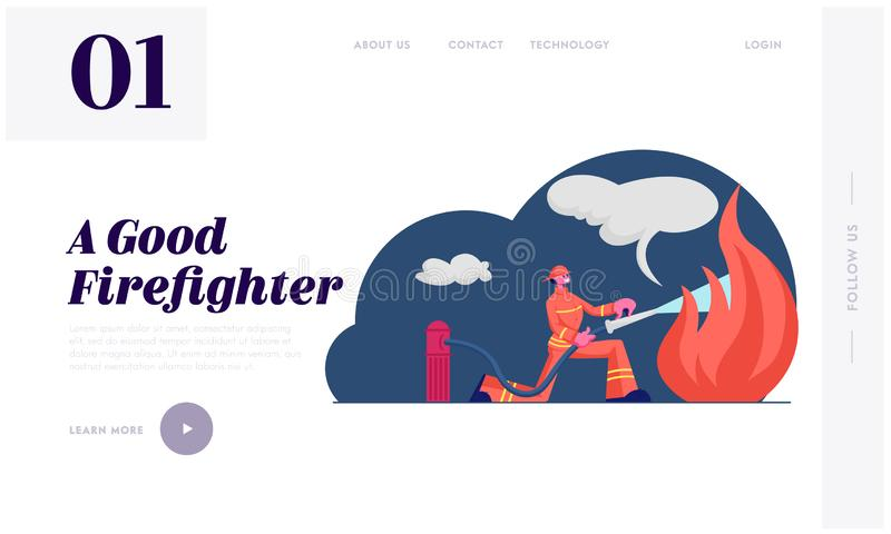 Firefighter Profession Website Landing Page. Fireman Training Using Water Hydrant and Extinguisher to Fight with Fire. Flame in Emergency Situation Web Page royalty free illustration