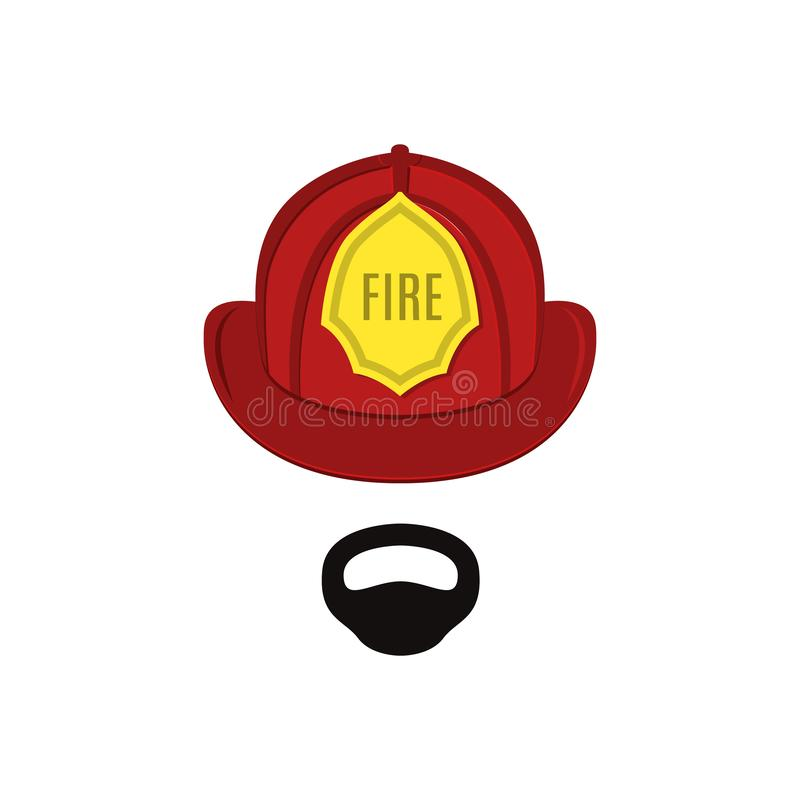 Firefighter in professional outfit. The man is a lifesaver. Vector illustration stock illustration