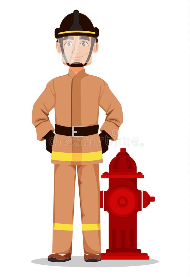 Firefighter in professional uniform and safe helmet. Fireman cartoon character stands near hydrant. Vector illustration on white background royalty free illustration