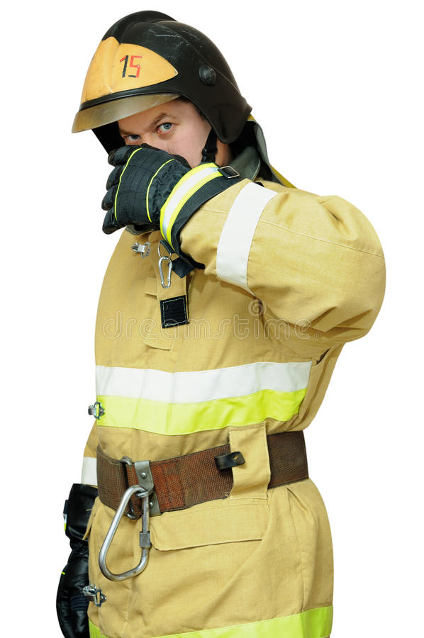 Download Firefighter Protects Face With His Hand Stock Photo - Image: 27983378