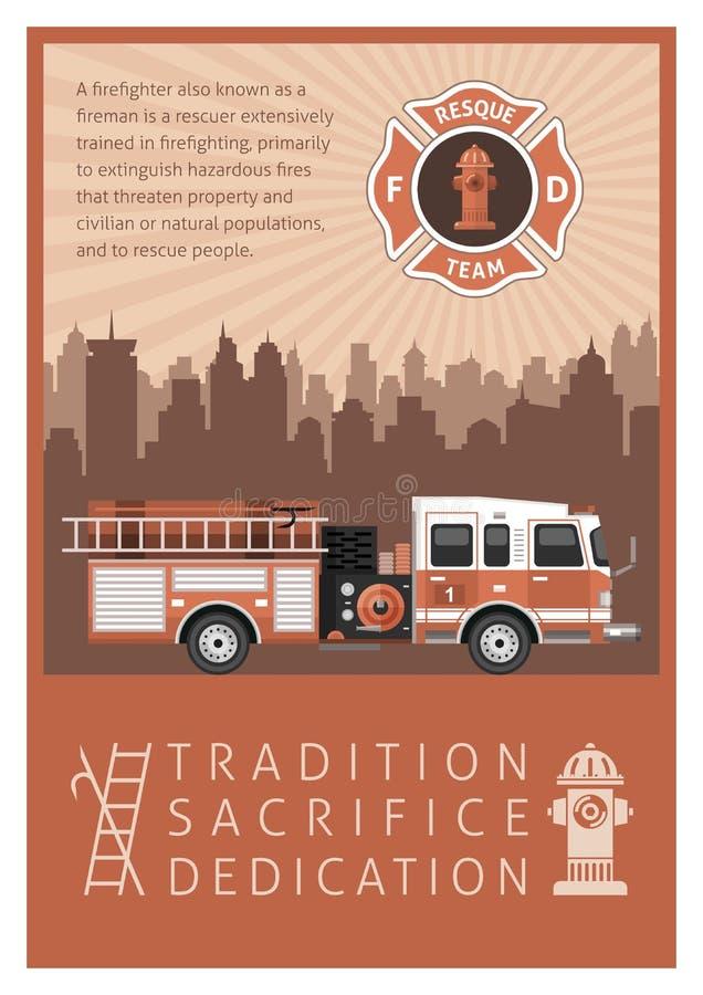Firefighter Retro Poster stock illustration