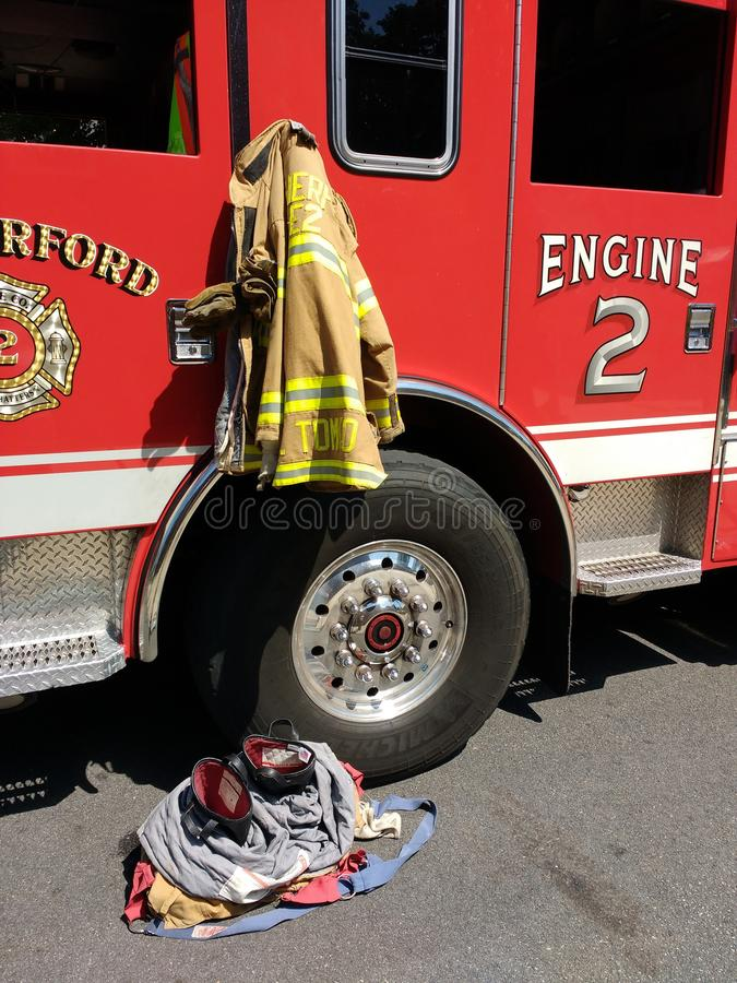 Fire Engine with Firefighter Gear, Rutherford, New Jersey, USA royalty free stock image