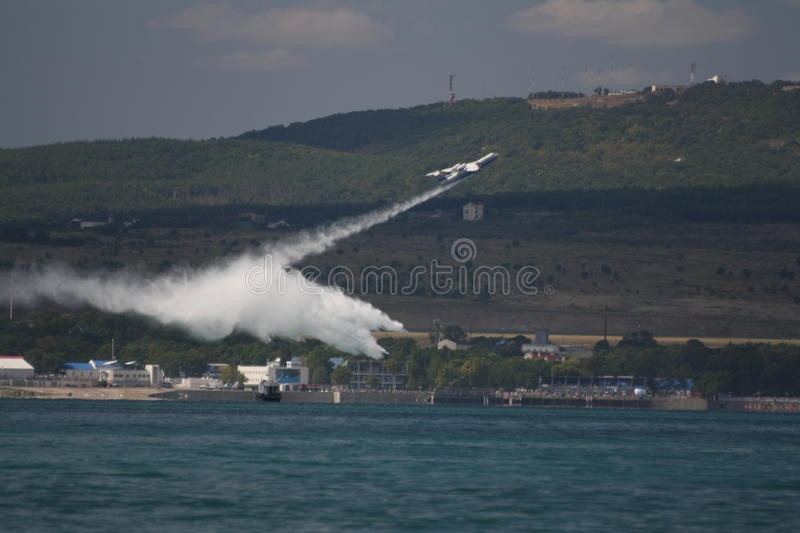 Firefighter Seaplane Drops Water Editorial Image
