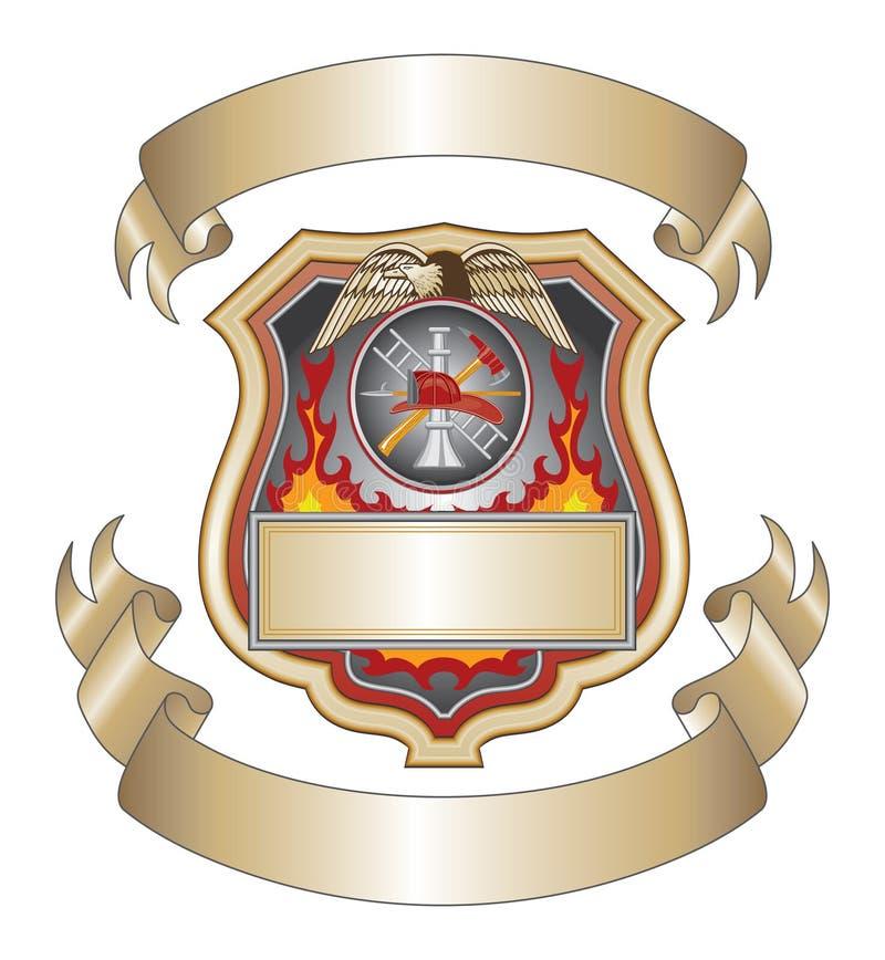 Firefighter Shield III. Illustration of a firefighter or fire department shield with firefighter tools logo royalty free illustration