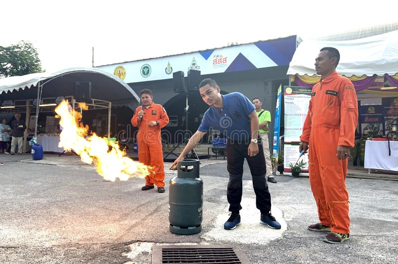 Firefighter simulating. Songkhla, Thailand - 9 September, 2019: Firefighter simulating and demonstration of fire fighting while fire drill and incident from gas royalty free stock photography