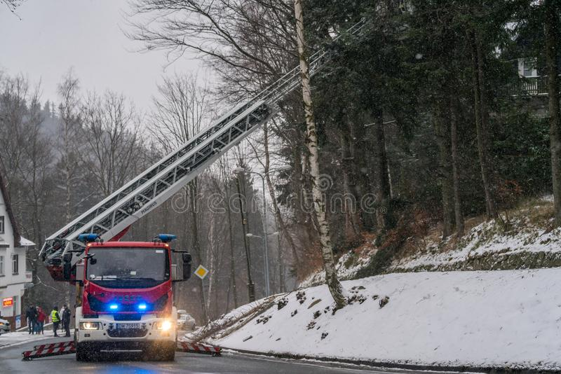 Fire engine on the road stock image