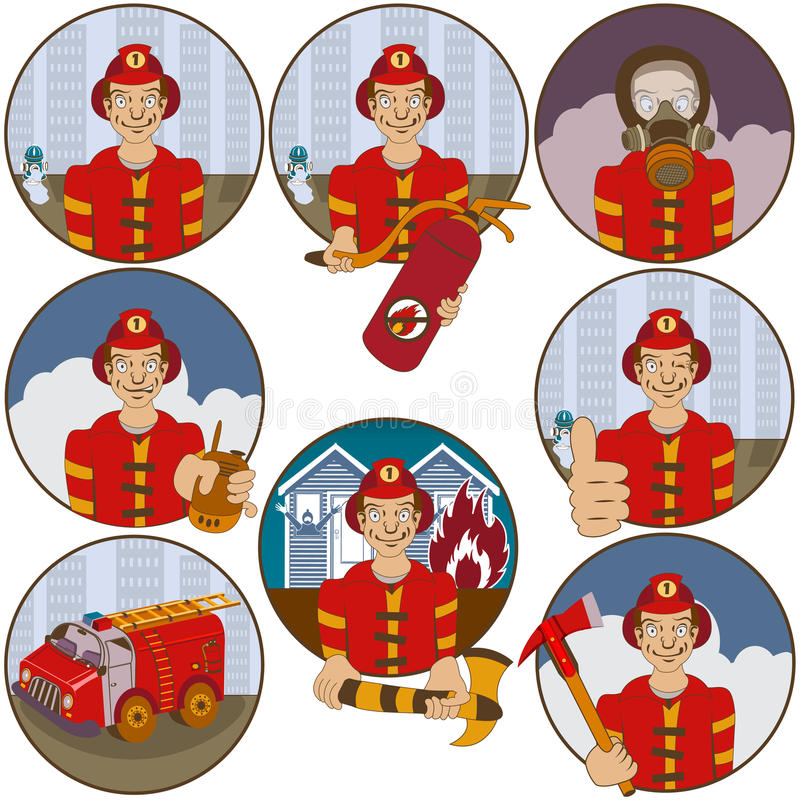 Download Firefighter stickers stock vector. Illustration of sullen -  60295096