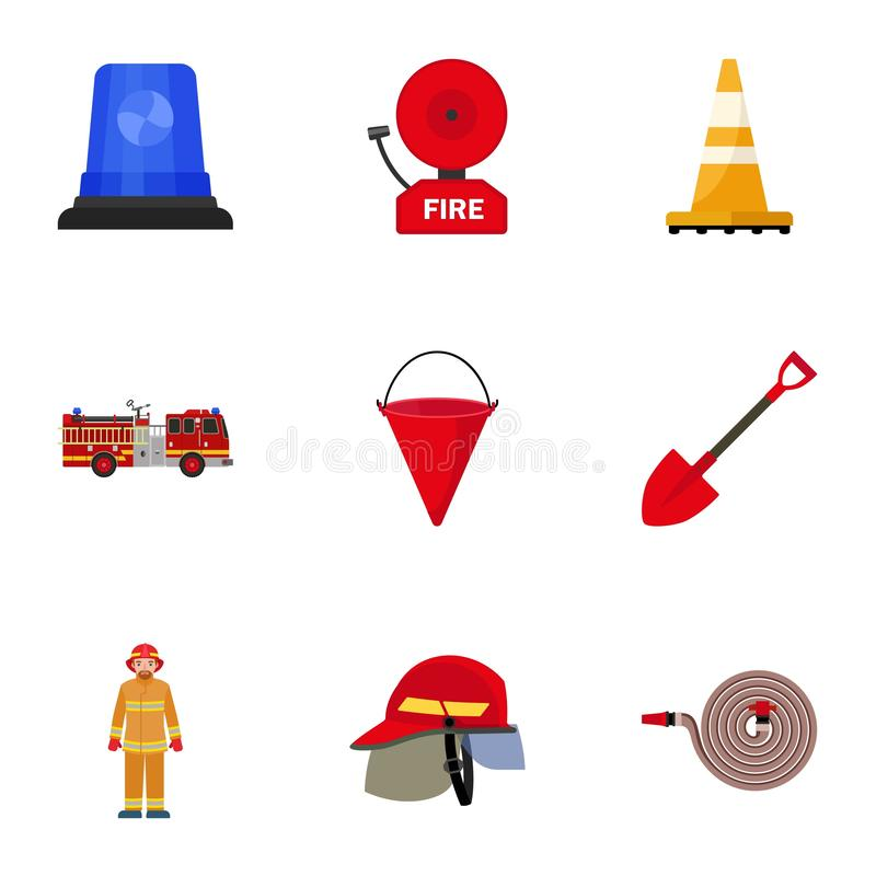 Firefighter tools icon set, flat style. Firefighter tools icon set. Flat set of 9 firefighter tools vector icons for web design isolated on white background stock illustration
