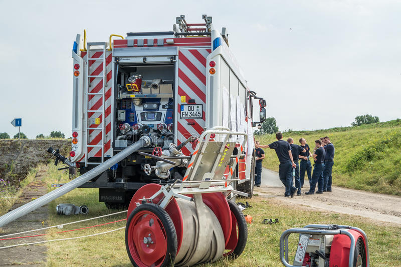 Download Firefighter Training In Duisburg Harbour Editorial Photography - Image: 83703632