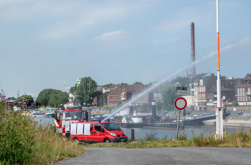 Download Firefighter Training In Duisburg Harbour Editorial Stock Photo - Image: 83703648
