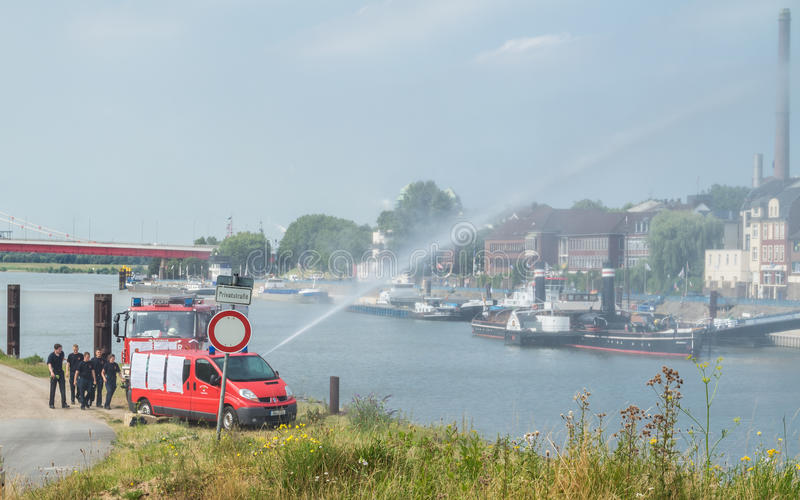 Download Firefighter Training In Duisburg Harbour Editorial Image - Image: 83704340