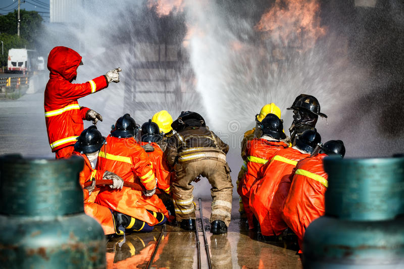 Firefighter training, The Employees Annual training Fire fighting. royalty free stock photo