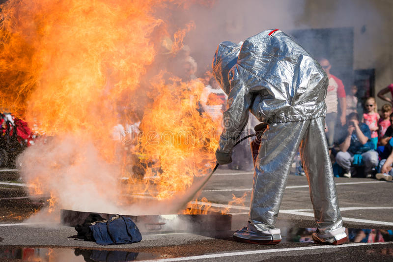 Firefighter training exercise in Pezinok, Slovakia stock image