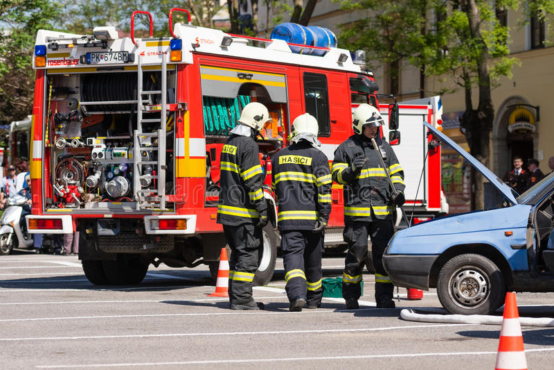 Firefighter training exercise in Pezinok, Slovakia royalty free stock photography