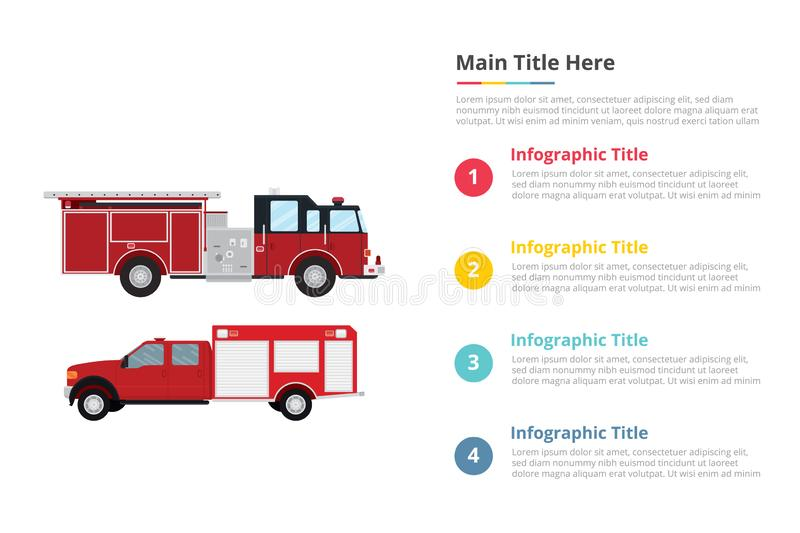 Firefighter truck infographics template with 4 points of free space text description - vector stock illustration