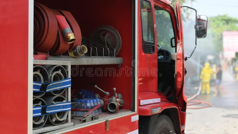 Firefighter truck real Incident in Thailand stock photo