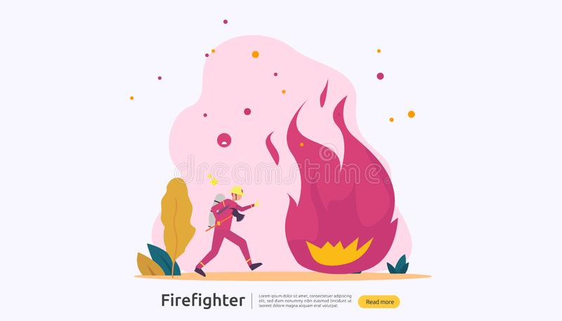 Firefighter using water spray from hose for fire fighting burning house. fireman in uniform, fire department rescuer. illustration stock illustration