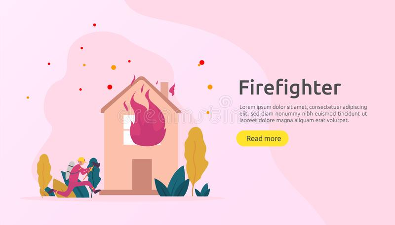 Firefighter using water spray from hose for fire fighting burning house. fireman in uniform, fire department rescuer. illustration vector illustration