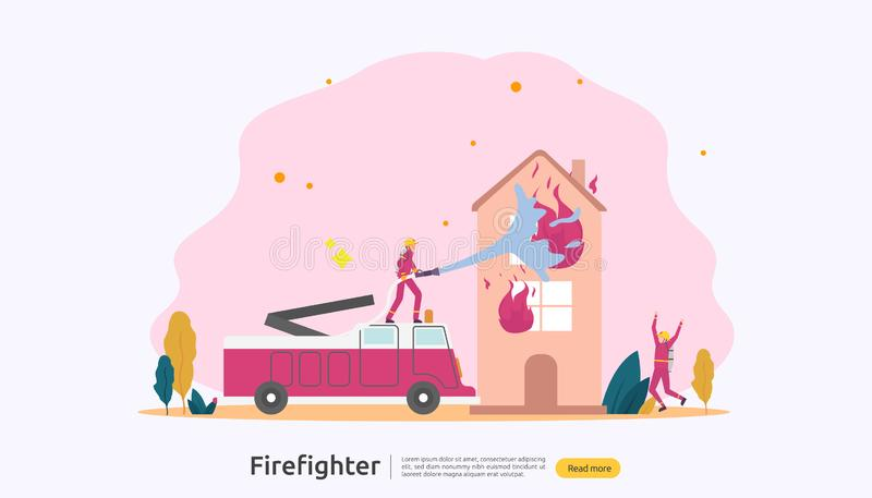 Firefighter using water spray from hose for fire fighting burning house. fireman in uniform, fire department rescuer. illustration royalty free illustration