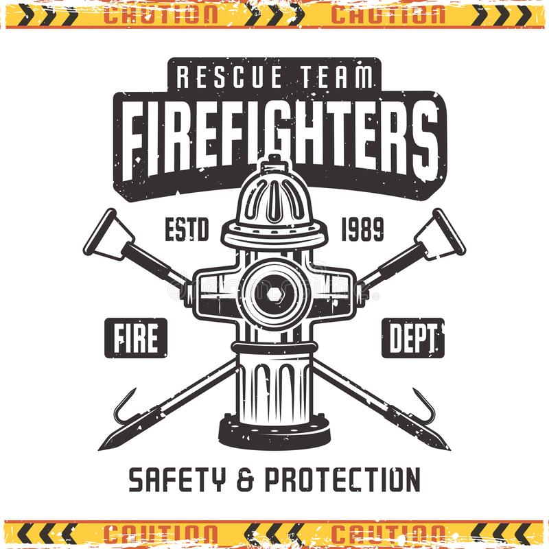 Firefighter vector retro emblem with fire hydrant. Firefighter vector emblem with fire hydrant in vintage style isolated on background with grunge textures stock illustration