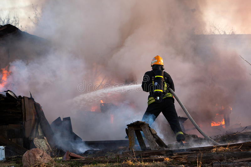 Download Firefighter at work stock photo. Image of alone, fighter - 27431390