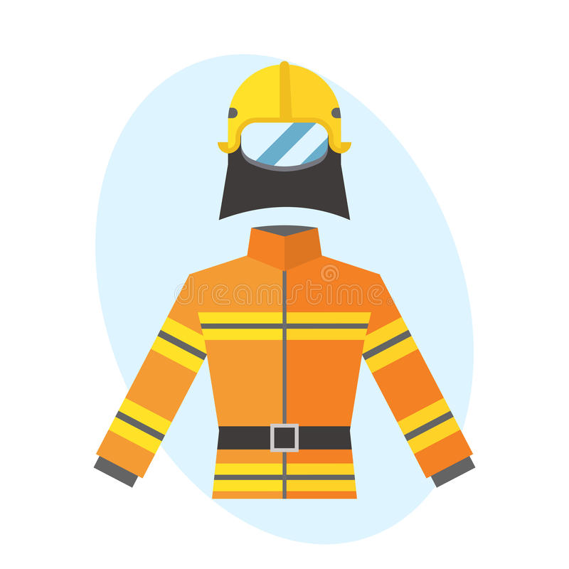 Firefighter yellow fire-proof uniform equipment rescue safety fighter professional protective vector. stock illustration