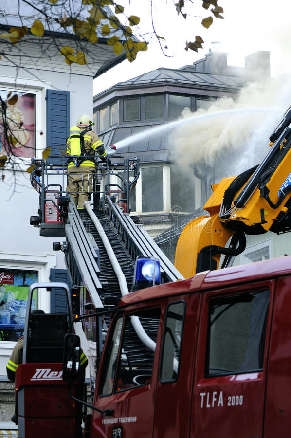 Download Firefighters editorial stock photo. Image of danger, town - 23603003